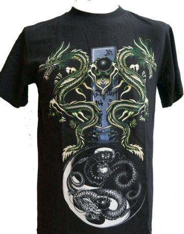 Twin Green Dragons T Shirt With Large Back Print